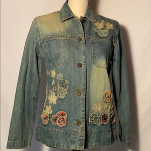 Chico's Denim Embroidered Jacket  Size 0
